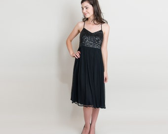 Vintage Sequin Slip Dress - 1990s Strappy Black Dress - 90s Chiffon Babydoll Slip Dress - M