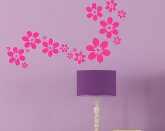 Decorative Flower Florals Vinyl Wall Decals Stickers 24pc Set Popular Decor for Girls Room