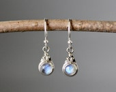 Rainbow Moonstone Earrings - Bali Silver Earrings - Silver Bezels - Moonstone Jewelry - Blue Flash Gemstones - Moonstone and Silver - Gift