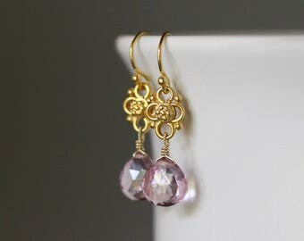 Pink Quartz Earrings - Pink and Gold Earrings - Mystic Quartz - Pink Gemstones - Wire Wrap Earrings Gold - Gold Link Earrings - Jewelry Gift