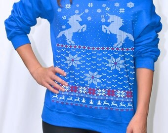 Women's Ugly Christmas sweater -- Unicorn sweatshirt -- pullover raglan sweatshirt -- off shoulder women's size s m l xl xxl red blue green