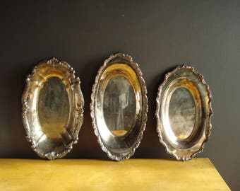 Vintage Silver Scallop Trays - Trio of Oval Silverplate Bowls - Set of Three - Shallow Oval Serving Trays or Decor