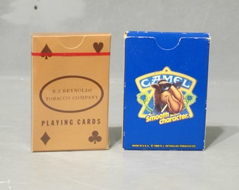 Vintage Joe Camel Playing Cards Set of 2 / RJ Reynolds Tobacco Co Advertising Smoking Cigarette Smooth Character Collectible Tobacciana NIB