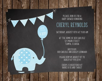 elephant baby shower invitation boy chalkboard baby shower, Baby shower invitations
