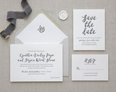Letterpress Wedding Invitation - Malibu Design - Calligraphy, Modern, Elegant, Simple, Classic, Script, Custom, Formal, Wax Seal