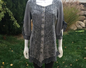 Silver Grey Embroidered Tunic Blouse