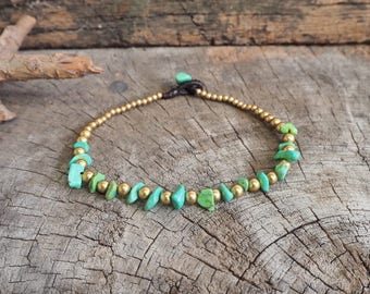 Green Turquoise Simple Brass Chain Anklet/ Bracelet