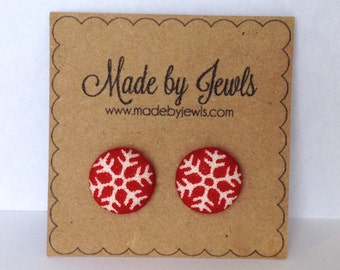 Fabric Button Earrings - Snowflakes - Buy 3, get 1 FREE
