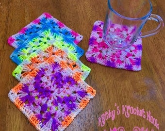 Crochet Coasters, Summer Accessories, Home Accessories, Coasters, Granny Square Coasters, Granny Squares, Home & Living, Coaster Set