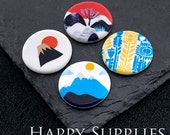 2pcs 25mm Round Handmade Photo Ceramic / Porcelain Pendants / Charms (CPA63-66) - High Quality No Scratch Guarantee