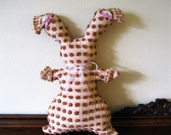 Vintage Chenille Milk Chocolate Pot Belly Easter Bunny....a touch of primitive whimsy