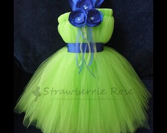 Apple Green and Royal Blue Flower Girl Dress, Little Girls, Toddler Girls, Baby Girls, Floral Sash, Flowergirl Dress