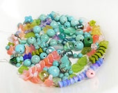 Aqua Bead Mix, Blue Glass Bead Mix, Multicolor Beads, Mixed Color, Green Czech Leaf Beads, Mixed Lot of Beads, Floral Beads, Turquoise Beads