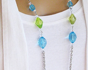 Long Beaded Necklaces, Beaded Necklaces, Blue Beaded Necklaces, Green Beaded Necklace, Silver Jewelry, Silver Necklace, Chunky Necklace,N686