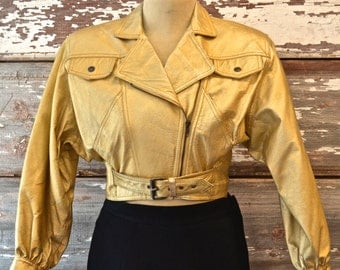 HOLD FOR SHANNON 90s Metallic Gold Leather Cropped Motorcycle Jacket Contempo Casuals sz S