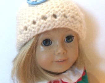 White Snowflake Knitted Hat, 18 in doll size, Handmade