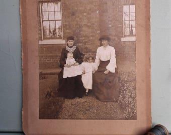 Antique photograph - Edwardian women children baby - family group outdoors - social history - costume -  vintage photo large 1900s UK