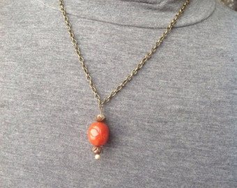 Simple Orange, Antique Gold and Copper Necklace