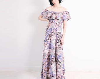 Dusty Rose 'Wandering Floral' Maxi Dress - Organic - Flutter Top - Summer Wedding - Slow Fashion - Off The Shoulder - Eco - Thief&Bandit®