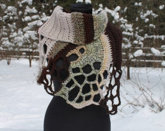 Beige Brown Melange Chunky Crochet Cowl Scarf Capelet Neck Warmer with buttons