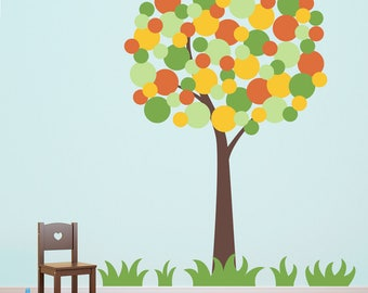 Polka Dot Tree Wall Decal with Grass - Playroom Decor - Children Wall Decals - Extra Large