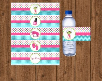 Spa Water Bottle Labels, Spa Birthday Party, Spa Slumber Party, Instant Download