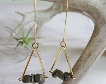 Pyrite Earrings Threader Earrings Boho Jewelry Boho Earrings Brass Earrings Gold Triangle Earrings Long Earrings Mothers Day Jewelry Dynamo