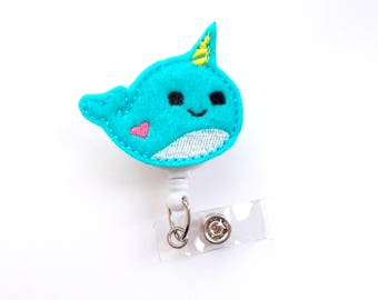 Narwhal Aqua Retractable Badge Reel - Fun Badge Holder - Labor & Delivery Badge - Medical Badge - Pharmacy Badge - Gift Under 10 - RN