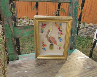"Vintage Kitsch Framed PELICAN Tropical Bird Shell Art ~ Sea Shell Collage ~ Gold Shadowbox Frame  ~Beach Cottage Decor ~8.25"" x 6.5"" x 1.75"""