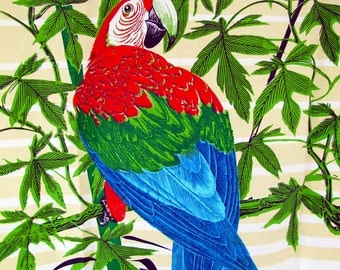 Macaw Parrot Textile Tapestry Hand Screen Printed Signed SB The Bahamas of St. Lucia W.I Midcentury MCM 1970s Linen Green Red Blue Fawn Tan