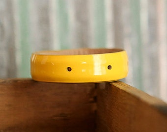 WONKY HANDSTAMPED CUFF - bracelet - personalized by Farmgirl Paints - shiny yellow leather cuff