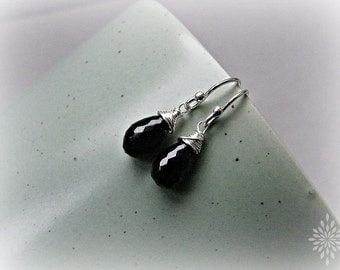 Dainty black earrings, black spinel earrings, gemstone drop earrings, black silver earrings, small wire wrapped earrings in sterling silver
