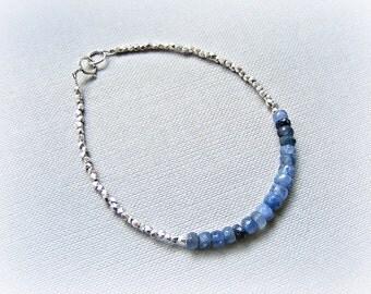 Burmese sapphire bracelet, blue sapphire silver bracelet, Thai Karen silver bracelet, sapphire layering bracelet, sapphire stacking bracelet
