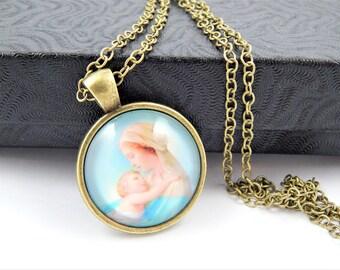 Virgin Mary with Infant Jesus Cabochon Catholic Necklace - Catholic Jewelry - Religious Jewelry - Catholic Medal Necklace - BR