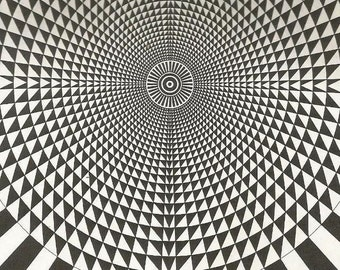 vintage 70s futuristic optical illusion virtual art print book plate black white vision trick retro home decor mod geometric picture 15/16
