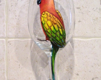 Conure, Parrot, Cockatiel,  Pet Bird  Wine Glass Hand Painted (Custom Order Only)