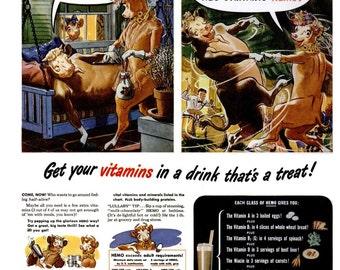 1945 Bordens Dairy Hemo Drink & Swifts Premium Lamb Advertisement Print Ad Poster Milk Nostalgic Decorative Wall Art Home Decor