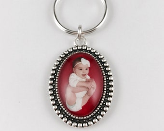 Custom Photo Keychain or Necklace - Vintage Oval Pendant - Silver or Bronze Finish Available