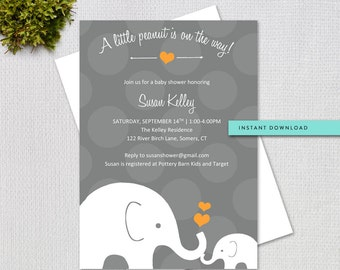 Elephant Baby Shower Invitation / Orange and Grey / Instant Download / EDITABLE TEMPLATE / 60205