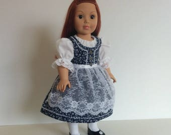 Dressy Austrian Style Dirndl for American Girl and Other 18 inch Dolls