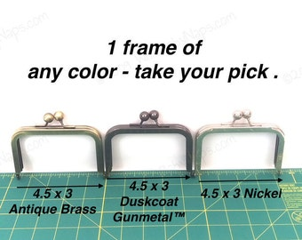 1 frame of 4.5x3 Nickel metal purse frame - 4 inch purse frame of your choice in Antique Brass, Duskcoat Gunmetal™ or Nickel