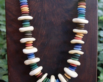 African Rainbow Necklace 2 Recycled Glass Discs in Muted Earth Tones w Large Creamy White African Bone Discs Colorful Ethnic Boho Jewelry