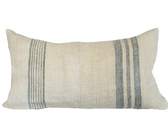 Vintage French Grainsack Grey Striped Lumbar Pillow