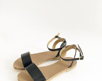 Zoe Classic Faux Leather Flat Sandals