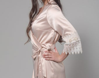 Bridal Lace Robe, Getting Ready Robes, Bridesmaid Robes, Bridal Robe, Lace Bridal Robe, Boudoir Robe, Silk Robe, Adelia
