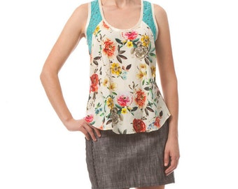 HOLIDAY SALE- Flyaway Tank- White Botanical
