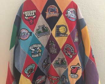 Vintage Jeff Hamilton All Team NBA Logo Wool and Leather Patch Jacket