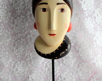 Vintage HEAD Face LADY Hat STAND Woman Metal Base Hand Painted Figural Victorian Folk Art Roaring 20 Flapper Ladies Figurine Statue Hatstand