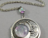 Lavender Moon,Locket,Silver,Purple,Lavender,Galaxy Necklace,Galaxy Locket,Earth,Moon,Heaven,Heaven Locket,Moon Necklace,Globe Necklace,Star