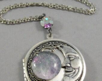 Lavender Moon,Locket,Silver,Purple,Lavender,Galaxy Necklace,Galaxy Locket,Earth,Moon,Heaven,Heaven Locket,Moon Necklace,Globe Necklace,Star